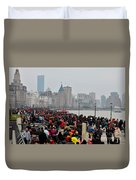 Holiday Crowds Throng The Bund In Shanghai China Duvet Cover