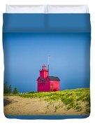 Holland Harbor Lighthouse Mi Duvet Cover