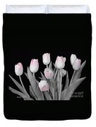 Holland Tulips In Black And White With Pink Duvet Cover