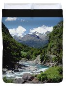 Hollyford River And The Eyre Range Duvet Cover