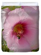 Hollyhock And Bee Duvet Cover