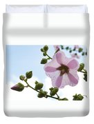 Hollyhock With Raindrops Duvet Cover