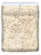 Hollywood Star Map Golden Age Celebrities 1937 Duvet Cover