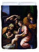 Holy Family Known As The Grande Famille Of Francois I, 1518 Oil On Canvas Duvet Cover