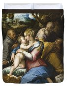 Holy Family With Saint Francis In A Landscape Duvet Cover
