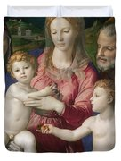 Holy Family With St. Anne And The Infant St. John Duvet Cover