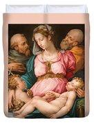 Holy Family With The Infant Saint John The Baptist And Saint Francis Duvet Cover by Giorgio Vasari