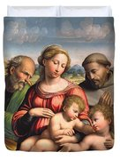 Holy Family With The Infant St. John The Baptist And St. Francis Duvet Cover