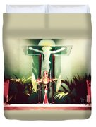 Adoration With Red Candles - Digital Painting Duvet Cover