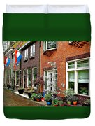 Homes Along The Canal In Enkhuizen-netherlands Duvet Cover