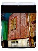 Homes On Stilts In Tachilek-burma Duvet Cover