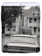 Hometown Usa Platium Print Duvet Cover