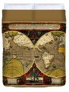 Hondius Map Of The World 1595 Duvet Cover
