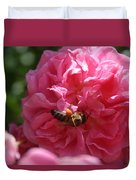 Honey Bee Collecting Pollen On A Pink Rose Duvet Cover