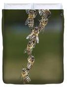 Honey Bees Join To Repair Honeycomb Duvet Cover
