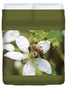 Honeybee On A Blackberry Blossom Duvet Cover