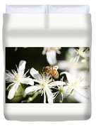Honeybee On Clematis Duvet Cover