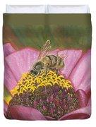 Honeybee On Pink Zinnia Duvet Cover