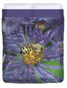 Honeybee On Purple Aster Duvet Cover
