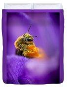 Honeybee Pollinating Crocus Flower Duvet Cover