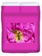 Honeybees On Pink Rose Duvet Cover