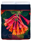 Honeysuckle Bloom In An Abstract Garden Painting Duvet Cover