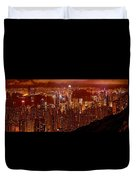 Hong Kong In Golden Brown Duvet Cover