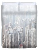Hong Kong City In The Mist Duvet Cover