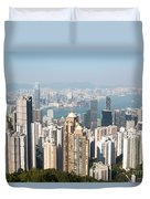 Hong Kong Harbor From Victoria Peak In A Sunny Day Duvet Cover by Matteo Colombo