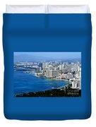 Honolulu And Waikiki From Diamond Head Duvet Cover