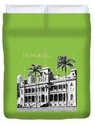Honolulu Skyline Iolani Palace - Olive Duvet Cover