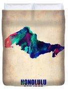 Honolulu Watercolor Map Duvet Cover