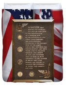 Honor The Veteran Signage With Flags 2 Panel Composite Digital Art Duvet Cover