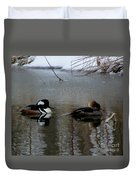 Hooded Merganser Mates Duvet Cover
