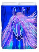 Horse Abstract Blue And Purple Duvet Cover