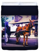 Horse And Carriage In Front Of Lafitte's Blacksmith Shop  Duvet Cover