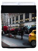 Horse And Carriage Nyc Duvet Cover