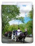 Horse And Carriages Central Park Duvet Cover