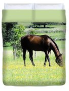 Horse And Flowers Duvet Cover