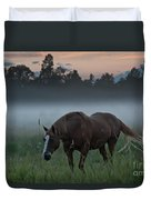Horse And Fog Duvet Cover