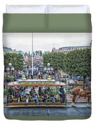 Horse And Trolley Main Street Disneyland 01 Duvet Cover