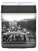 Horse And Trolley Main Street Disneyland Bw Duvet Cover