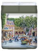 Horse And Trolley Turning Main Street Disneyland 01 Duvet Cover
