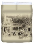 Horse And Trolley Turning Main Street Disneyland Heirloom Duvet Cover