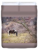 Horse And Winter Berries Duvet Cover