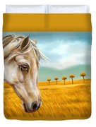 Horse At Yellow Paddy Field Duvet Cover