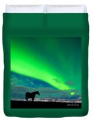 Horse Distant Snowy Peaks With Northern Lights Sky Duvet Cover