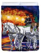 Horse Drawn Carriage Night Duvet Cover