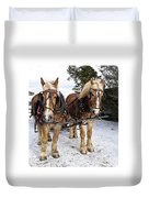 Horse Drawn Sleigh Duvet Cover by Edward Fielding
