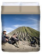 Horse Drivers Near A Volcano At Bromo Java Indonesia Duvet Cover
